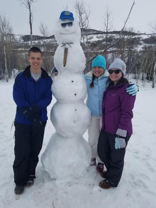 The traditional family 5-balled snowman. We are fortunate to ski in Park City most years. Great snow for us not-great skiers.